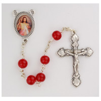 (P459R) RED GLASS BEAD ROSARY