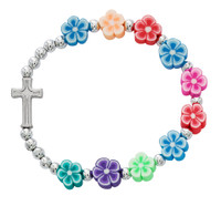 (BR893C) KIDS MULTI-COLOR FLOWER BRACEL