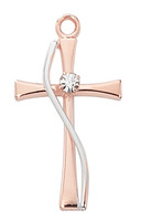 (JR9204) ROSE GOLD SS TWO TONE CROSS