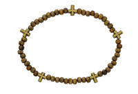 (BR895C) BROWN WOOD CROSS STRETCH BRAC