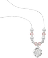 "(NK166C) 18""-20"" PINK & PEARL NECKLACE"