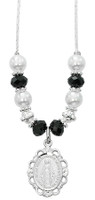 "(NK167C) 18""-20"" BLACK & PEARL NECKLACE"