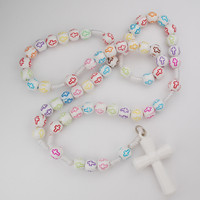 (P355C) KID'S MULTI COLOR CROSS ROSARY