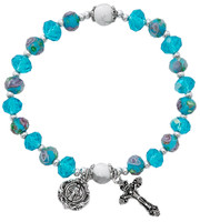 (BR899C) AQUA FLOWER CRYSTAL STRETCH HC
