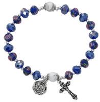 (BR901C) BLUE FLOWER CRYSTAL STRETCH BR