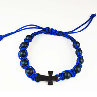 (BR854C) BLUE CORDED CROSS BRACELET