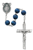 (P282C) BLUE WOOD SILVER OX ROSARY