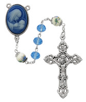 (R724F) 7MM BLUE CRYSTAL CAMEO ROSARY