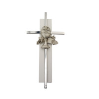 "(75-53) 6"" SILVER CROSS ON WHITE"
