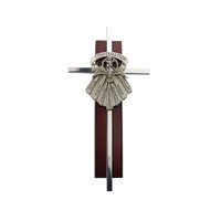 "(77-44) 6"" SILVER CROSS ON CHERRY"