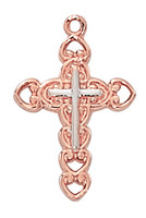 "(HR9202W) 2-TONE ROSE GOLD CROSS 18"" CH"