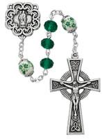 (P369R) GREEN CRYSTAL ST.PAT ROSARY