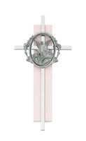 "(73-52) 6"" SILVER CROSS ON PINK WOOD"