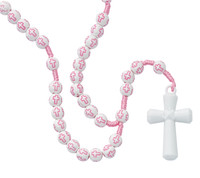 (P375R) KID'S PINK CROSS ROSARY