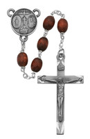 (137D-BRF) 6X8MM BROWN WOOD OVAL ROSARY