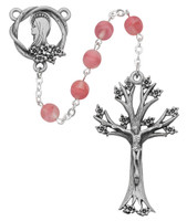 (995DF) 7MM ROSE GLASS DOGWOOD ROSARY