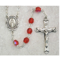 (875L-RUF) SS 6MM RUBY/JULY ROSARY