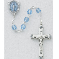(864LF) SS 7MM BLUE GLASS ROSARY