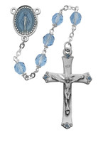 (864DF) 7MM BLUE GLASS ROSARY