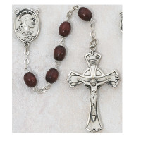 (600LF) SS 6X8MM BROWN WOOD ROSARY