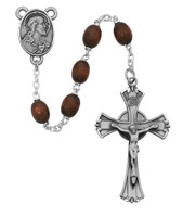 (600DF) 6X8MM BROWN WOOD ROSARY
