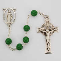 (342LF) SS 7MM GLASS SHAMROCK ROSARY