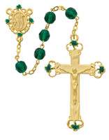 (197HF) 7MM GOLD GREEN GLASS ROSARY