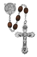 (139D-BRF) 6X8MM BROWN WOOD OVAL ROSARY