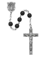 (121D-BKF) 7MM BLACK GLASS ROSARY
