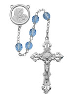 (596RF) 7MM BLUE GLASS ROSARY