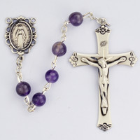 (560ASF) 6MM GENUINE AMETHYST ROSARY