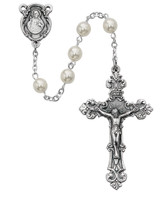 (131DF) 6MM PEARL GLASS ROSARY