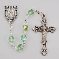 (R391-PEG) 6MM AB PERIDOT/AUGUST ROSARY