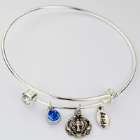 (BN906) BANGLE W/TWIST OFF CRYSTAL &