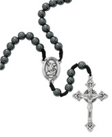 (P389R) 8MM CORDED HEMATITE ST MICHAEL