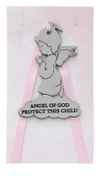 (PW31) ANGEL OF GOD CRIB MEDAL-PINK