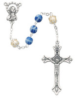 (170-BLC) 6MM BLUE & PEARL CAPPED ROSARY