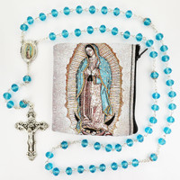 (P399RP) AQUA GUADALUPE ROSARY & POUCH