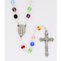 (P411C) 6MM MULTI-COLOR ROSARY, CARDED