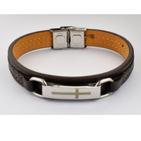(BR962) MEN'S LEATHER BRAC W/CROSS