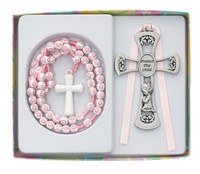 (BS64) GIRL'S PINK CROSS CRIB MEDAL
