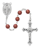 (P404C) ROSE PEARL ROSARY, CARDED