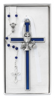 (CBS5) BLUE ENAMELED CRUCIFIX