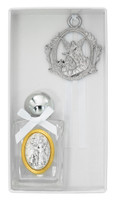 (BS66) WHITE HOLY WATER CRIB MEDAL