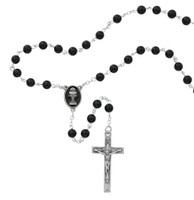 (R676B) 6MM BLACK ONXY COMM ROSARY