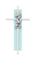 "(73-60) 6"" SILVER CROSS ON BLUE WOOD"