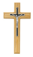 "(80-197) 7"" OAK SILVER & BLACK CRUCIFIX"