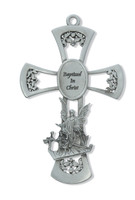 "(73-14) 6"" PEWTER BAPTISM CROSS"
