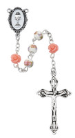 (R768W) PINK FLOWER CERAMIC ROSARY