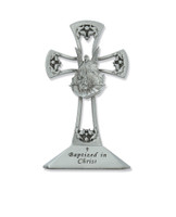"(73-15) 4"" PEWTER STNG BAPTISM CROSS"